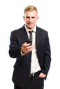 Handsome young businessman on mobile phone. Stock Photography