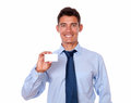 Handsome young man holding blank business card portrait of a of copyspace on isolated background Stock Photography
