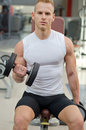 Handsome young man training biceps in gym lifting dumbbell on bench a Stock Image