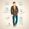 Handsome young man. Vector illustration. Royalty Free Stock Photo