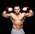 Handsome young muscular man wearing boxing gloves Royalty Free Stock Images
