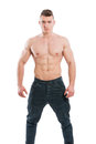 Handsome and young topless man posing isolated on white background Royalty Free Stock Photography