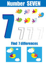 Handwriting practice. Learning mathematics and numbers. Number seven. Educational children game, printable worksheet for kids