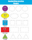 Handwriting practice sheet. Educational children game, kids activity. Learning shapes Royalty Free Stock Photo