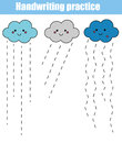 Handwriting practice sheet. Educational children game, printable worksheet for kids and toddlers