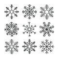 Handwriting snowflake collection isolated on white background. Flat snow icon, snow flakes silhouette. Snowflakes for christmas