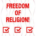 Handwriting text Freedom Of Religion. Concept meaning right to practise whatever religion one chooses Vertical Curved Royalty Free Stock Photo