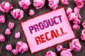 Handwriting text showing Product Recall. Business photo showcasing Recall Refund Return For Products Defects written on Pink Stick Royalty Free Stock Photo