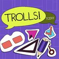 Handwriting text Trolls. Concept meaning Online troublemakers posting provocative inflammatory messages Two Blank