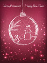 Handwriting Xmas ball with snowman for Merry Christmas celebration on purple background with light, stars. Vector eps Royalty Free Stock Photo
