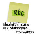 Handwritten alphabet lowercase letters with numbers vector Royalty Free Stock Photos
