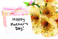 Handwritten happy mother s day tag with flowers and gift boxes Royalty Free Stock Image