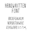 Handwritten ink alphabet font and punctuation vector illustration eps Royalty Free Stock Images