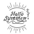 Handwritten inscription hello summer lettering calligraphy vecto