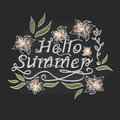 Handwritten inscription hello summer With tiger lilies lettering