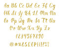 Handwritten latin calligraphy brush script with numbers and punctuation marks. Gold glitter alphabet. Vector Royalty Free Stock Photo