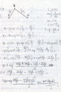 Handwritten physics homework with diagram in pencil on notepaper education and science background Stock Photos