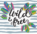 Handwritten quote wild and free with hand drawn graphic ethnic feathers