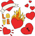 Handwritten set of stickers for Valentine's Day. Heart with fire, lock, ribbon. Flat vector retro tattoo drawings.