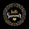 Handwritten Summer sale vector illustration in floral frame for poster. Special offer flyer, discount card design. Royalty Free Stock Photo