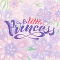 Handwritten text, inscription in vector format, little princess with crown for postcard, poster, print, logo, print f