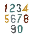 Handwritten vector numbers isolated on white background Royalty Free Stock Photo