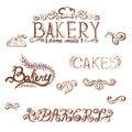 handwritten vintage retro bakery logo labels. Vect