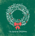 Handwritten word cloud Christmas Wreath Holiday Greeting Card Royalty Free Stock Photo