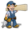 Handyman carpenter blue cartoon illustration of a carrying planks of wood Stock Photography