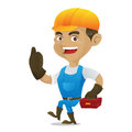 Handyman carrying toolbox