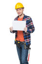 Handyman confident young handymen in hardhat holding poster while standing isolated on white Stock Images
