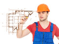 Handyman drawing plan with marker professional Stock Photo