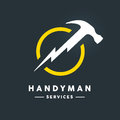 Handyman logo with abstract hammer flash tool icon