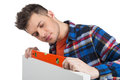 Handyman measuring level confident craftsperson the with special tool Royalty Free Stock Image
