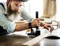 Handyman occupation craftsmanship carpentry concept Royalty Free Stock Photos