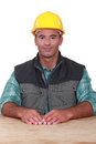 Handyman sat work bench Stock Image