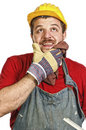 Handyman thinking Royalty Free Stock Photo