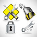 Handyman tools and locks set Royalty Free Stock Photo
