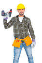 Handyman wearing tool belt while holding power drill Royalty Free Stock Photo
