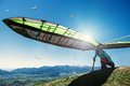 Hang-glider starting to fly Royalty Free Stock Photo