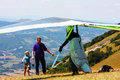 Hang gliding competitions in Italy Royalty Free Stock Photo