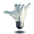 Hang loose idea gesture light bulb Stock Images