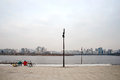 Hangang river on a cloudy day with bikes Stock Image