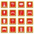 Hangar icons set red