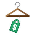 Hanger price tag wooden with green Stock Images