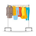 Hanger rack with warm women clothes winter collection