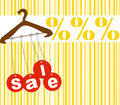 Hanger with sale tags Stock Photo