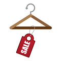 Hanger sale wooden with red tag Stock Image