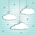 Hangiing clouds hanging on chevron pattern vector illustration Royalty Free Stock Photo