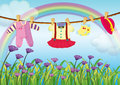 Hanging baby clothes near the garden with fresh flowers illustration of Royalty Free Stock Images